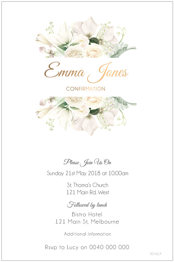 white floral and gold communion invitation, white floral confirmation invitation