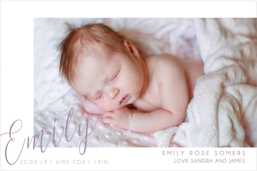 photo baby announcement card, baby announcement card for baby boy or girl