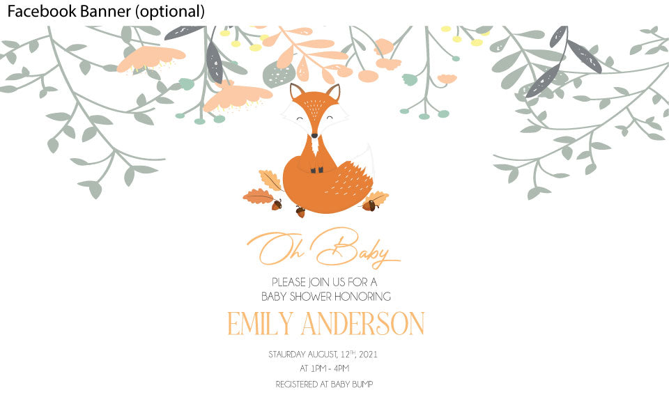 Fox woodland baby shower invitation