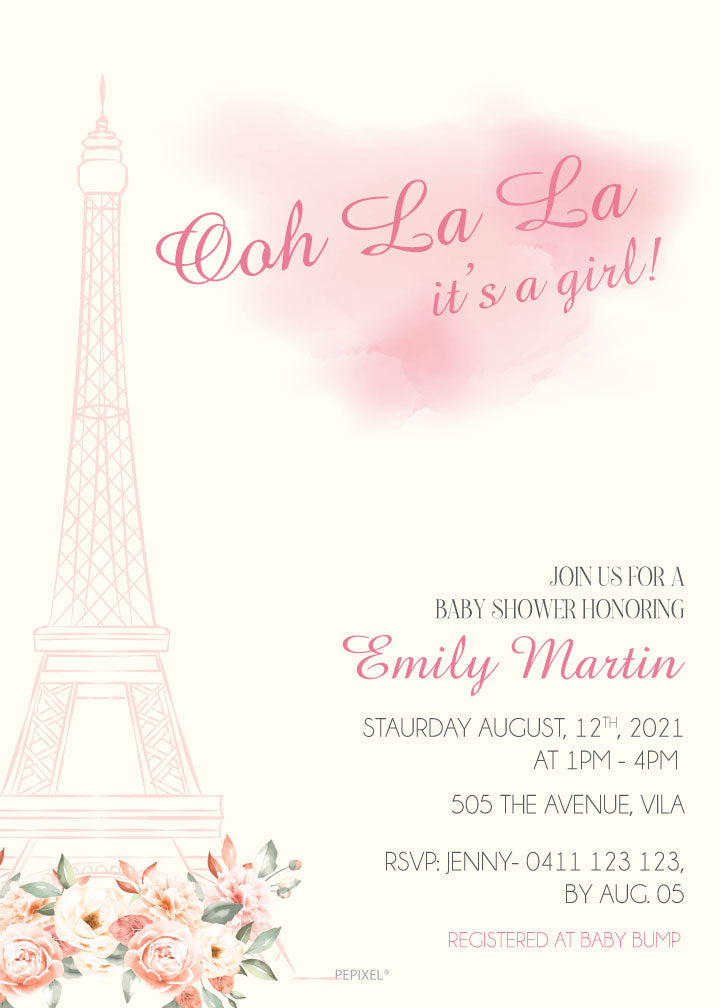 Pretty Paris baby shower invitation