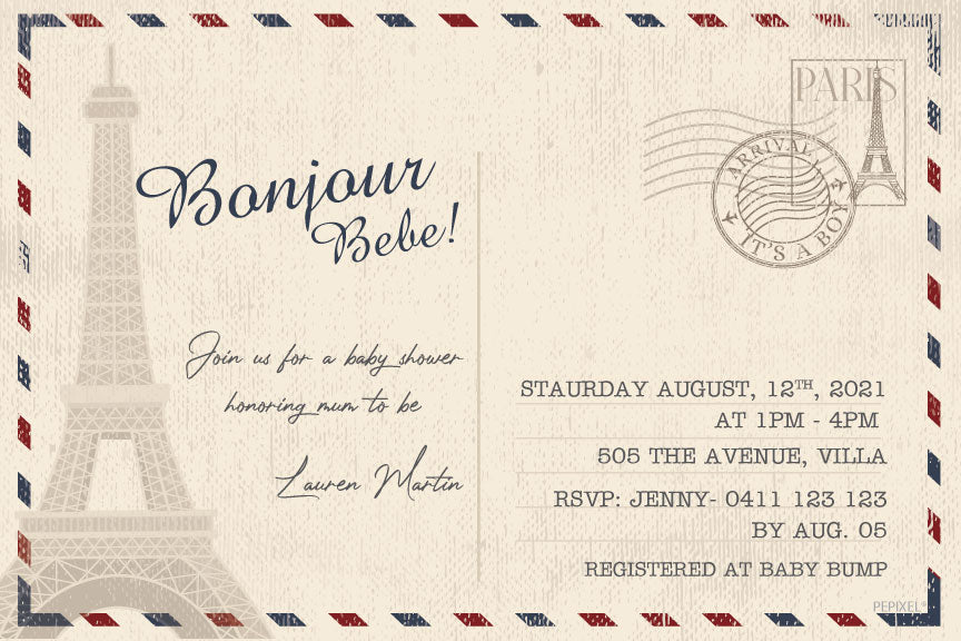 Paris postcard baby shower invitation