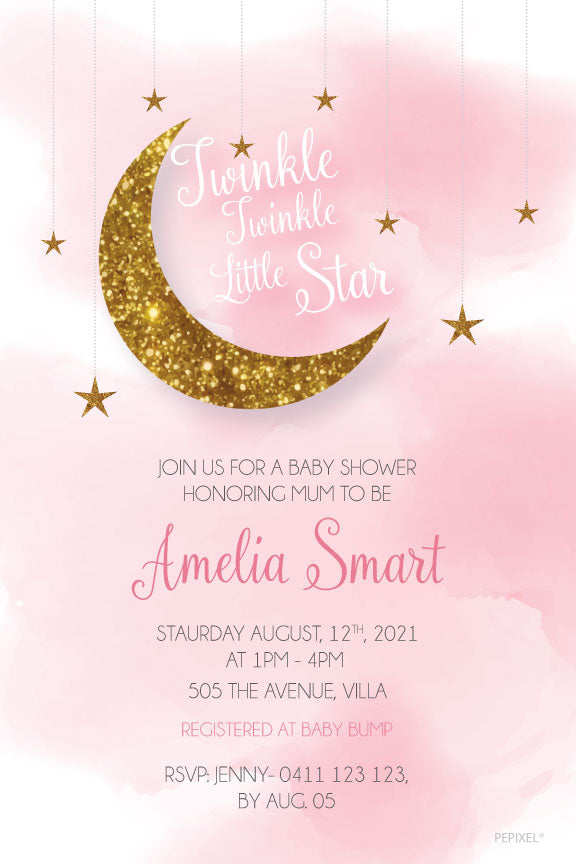 Gold and pink  twinkle little star baby shower invitation for a girl