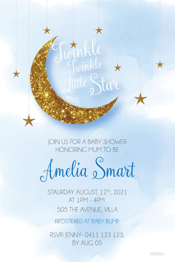 blue and gold twinkle little star invitation