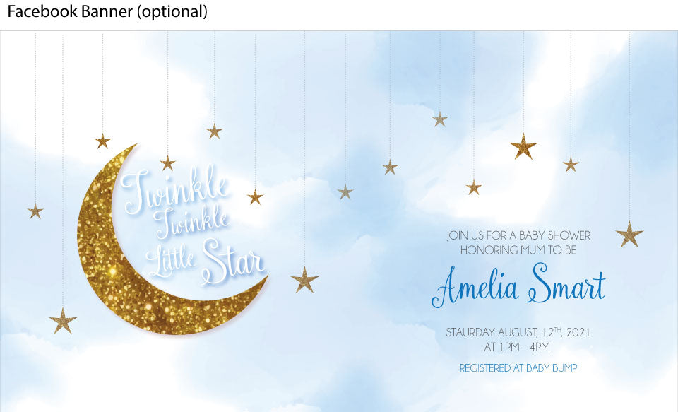 blue and gold twinkle twinkle little star theme invitation