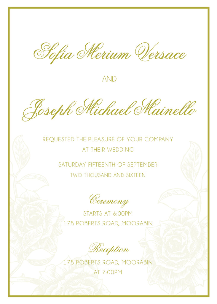 gold floral wedding invitation,