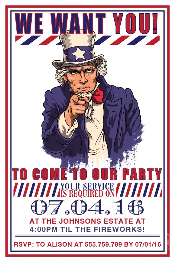 4th of July birthday party invitations,  4th July uncle Sam party invitation,