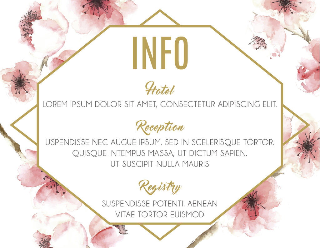 Red floral with gold wedding information card,