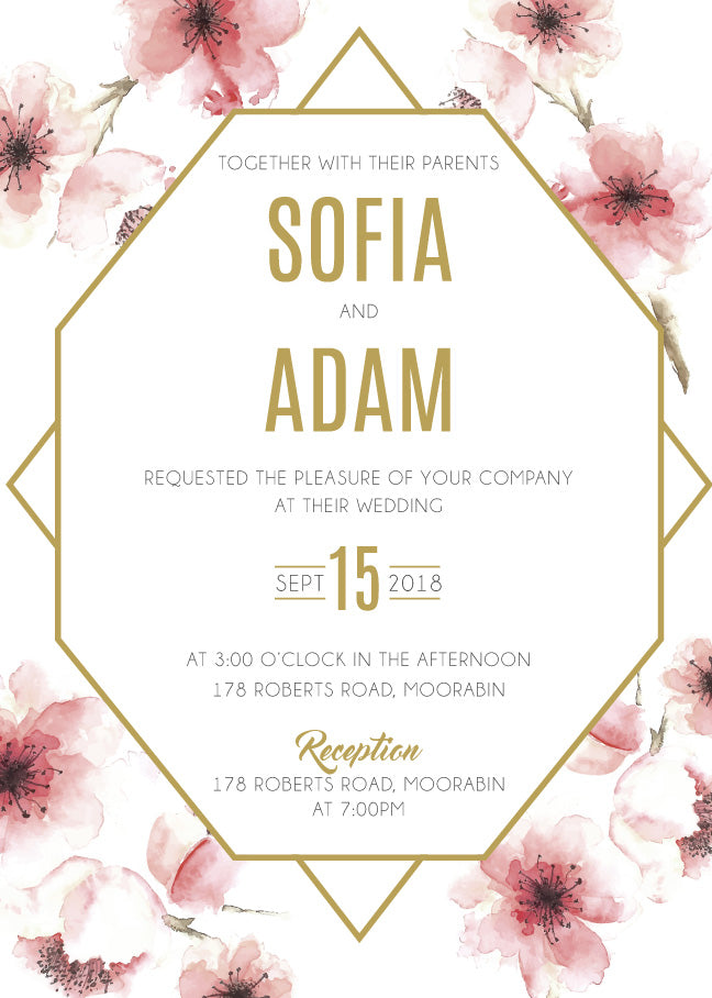 Red Cherry Blossom floral with gold wedding invitation,