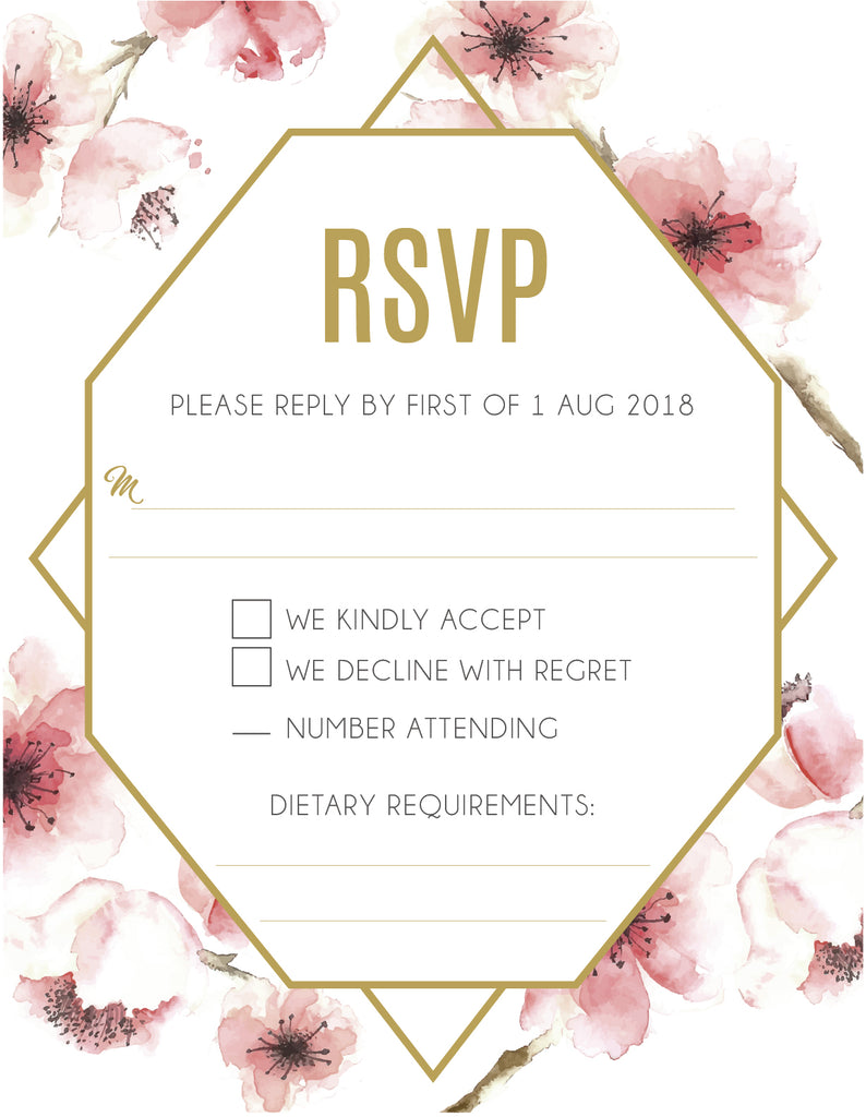 Red Cherry Blosso   floral with gold wedding RSVP card,
