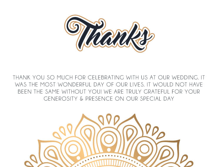 Gold mandala wedding thank you card