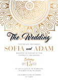 Gold mandala wedding invitation,