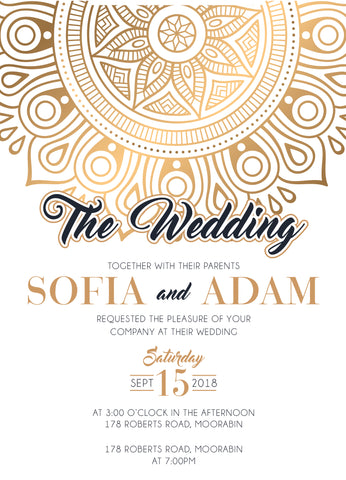 Wedding Invitation Templates Golden Mandala - Cheap wedding invitation templates