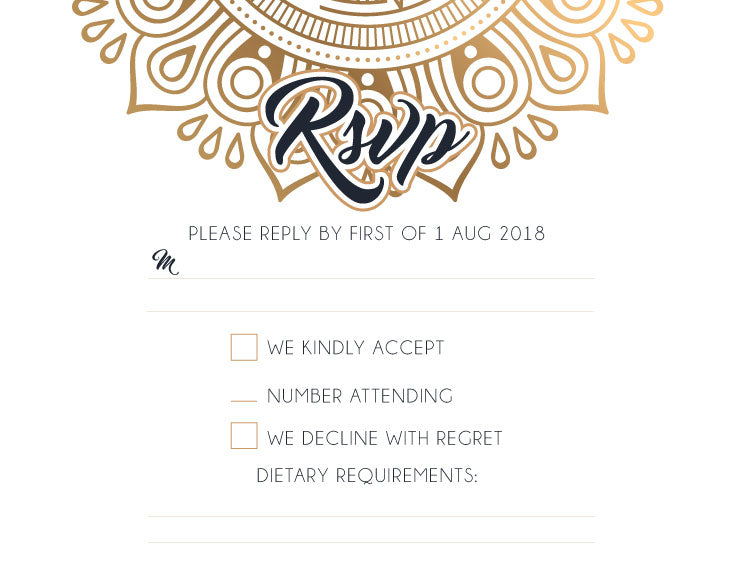 Gold mandala wedding RSVP card,