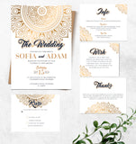 Gold mandala wedding invitation set,