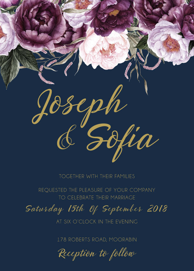 Navy with pink floral wedding invitation,