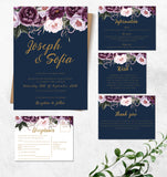 Navy with pink floral wedding invitation set,