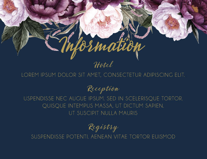 Navy with pink floral wedding invitation information card,