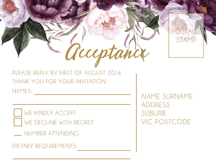 Navy with pink floral wedding invitation rsvo and acceptance card,