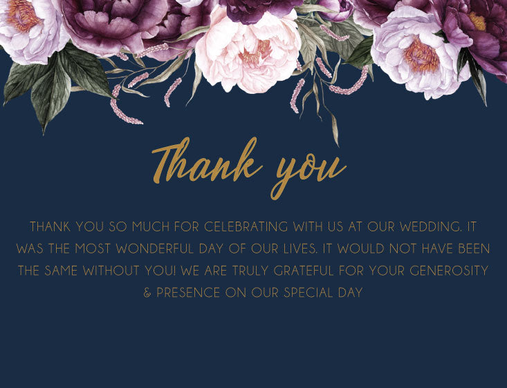 Navy with pink floral wedding thank you card