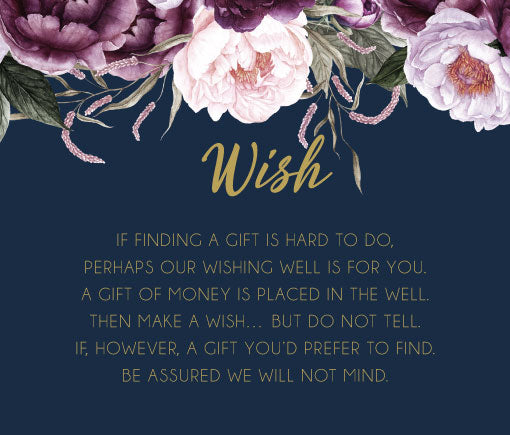 Navy with pink floral wedding invitation Wishing well card