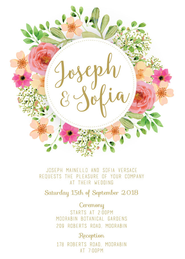 Floral and gold wedding invitation