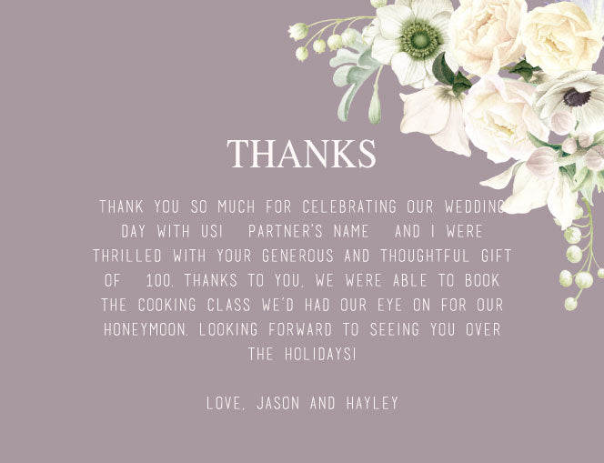 Mauve and white floral wedding invitation thank you card,