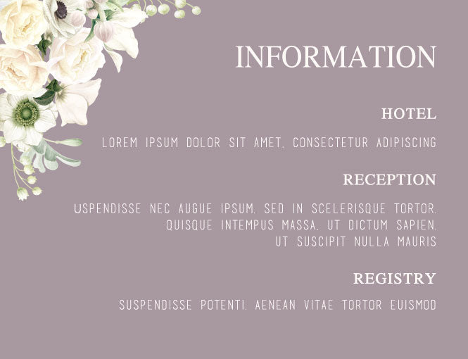 Grey and white floral wedding invitation information card,