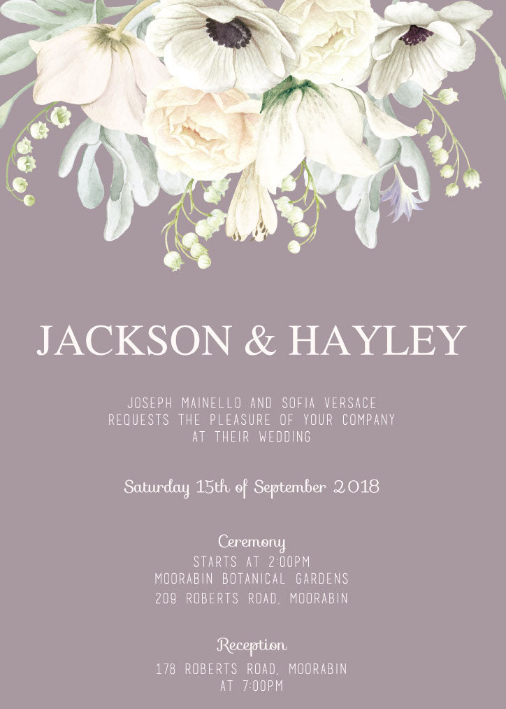 Mauve and white floral wedding invitation,