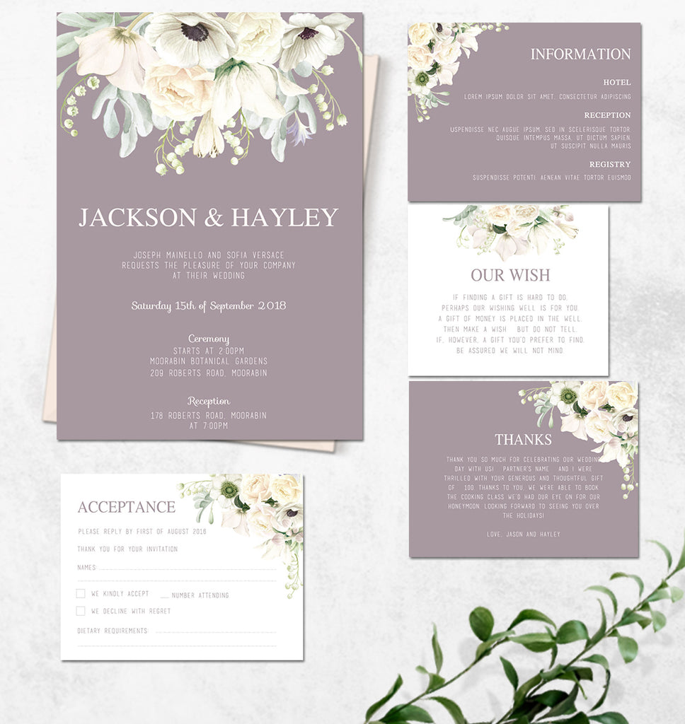 Mauve and white floral wedding invitation set