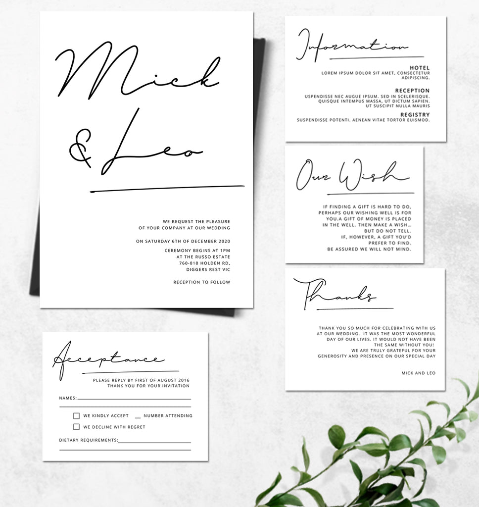 Handwriting wedding invitation with Minimalist style for gay marragies