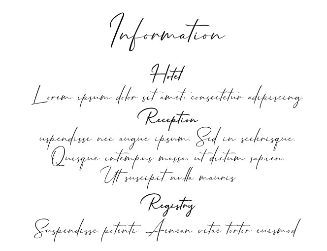 Minimalist calligraphy, handwriting wedding invitation