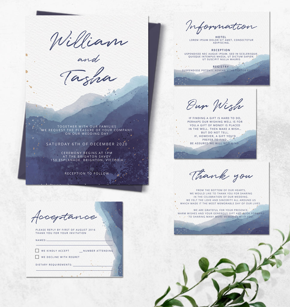 Blue watercolour beach wedding invitation