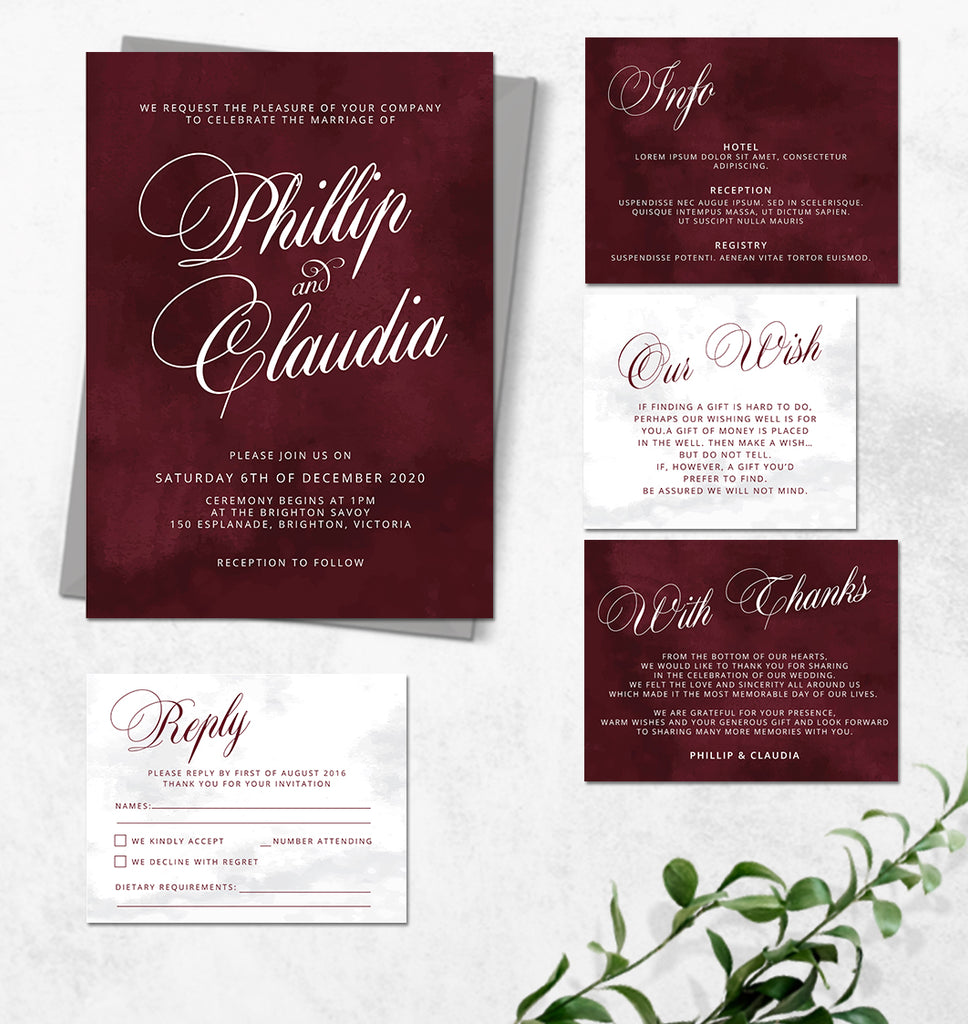Burgundy with calligraphy, handwriting wedding invitation