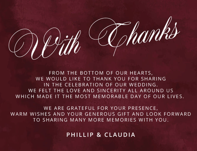 Burgundy with calligraphy, handwriting wedding thank you card