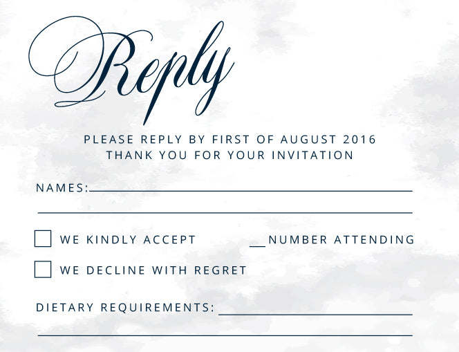 Calligraphy, handwriting wedding invitation in navy