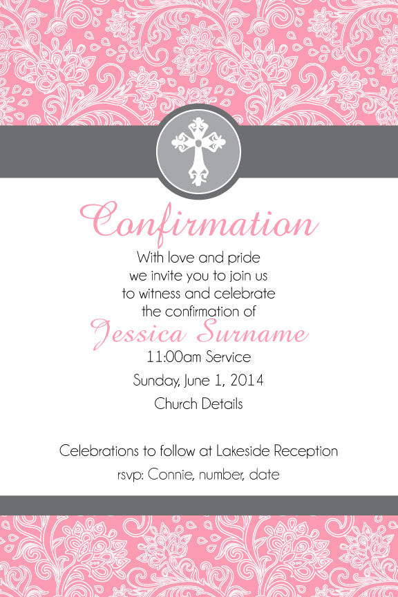 pink floral confirmation invitation for girls,pink floral communion invitation for girls,