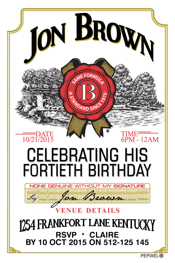 Jim Beam label birthday party invitation, 40th birthday invitation whisky