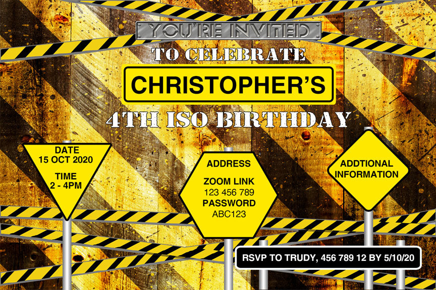 Iso construction birthday party in isolution, invitation