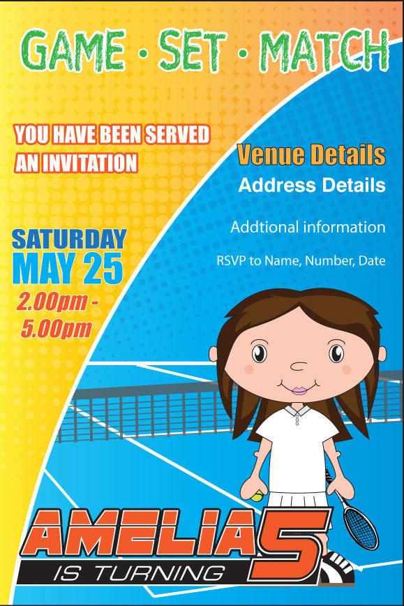 Tennis themed birthday party invitation for girls,