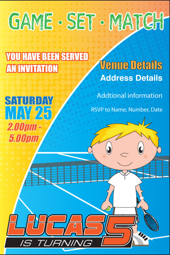 Tennis themed birthday party invitation for boys