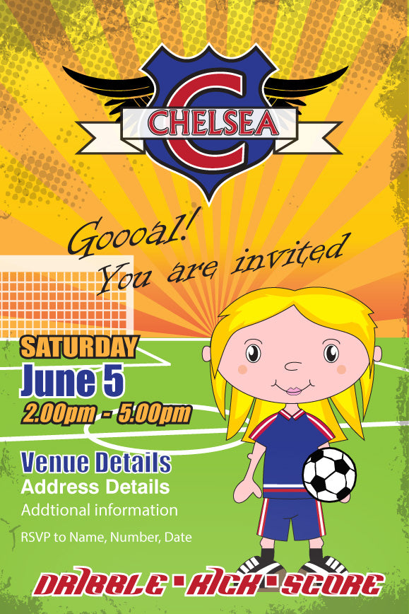 girls soccer birthday party invitation,