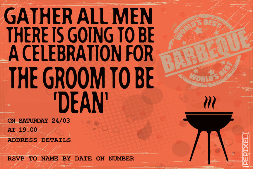 BBQ bachelor party invitation, spit bucks party invitations