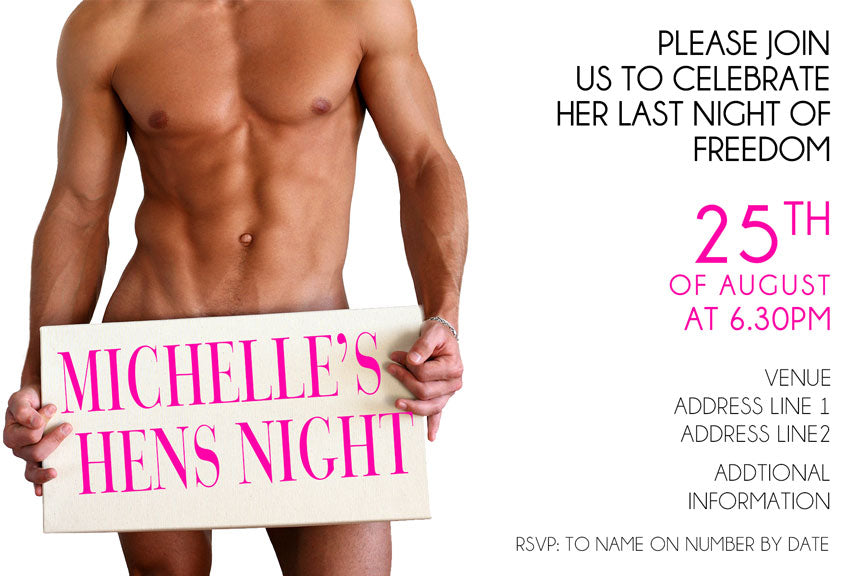 sexy guy bachelorette party invitation, naked man hens night invitation
