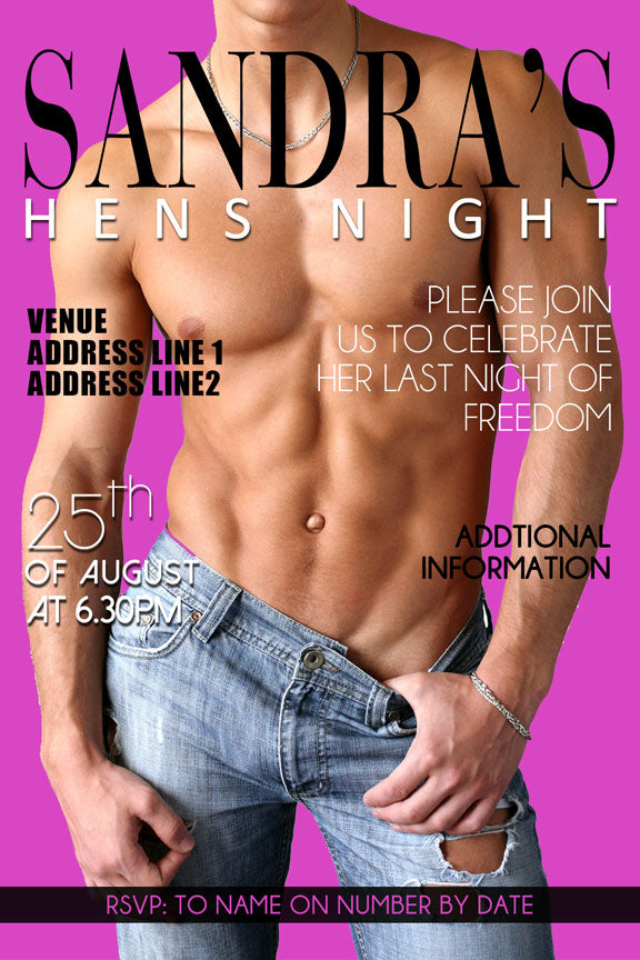 hot pink bachelorette party invitations with sexy guy, hens night invitation with naked man