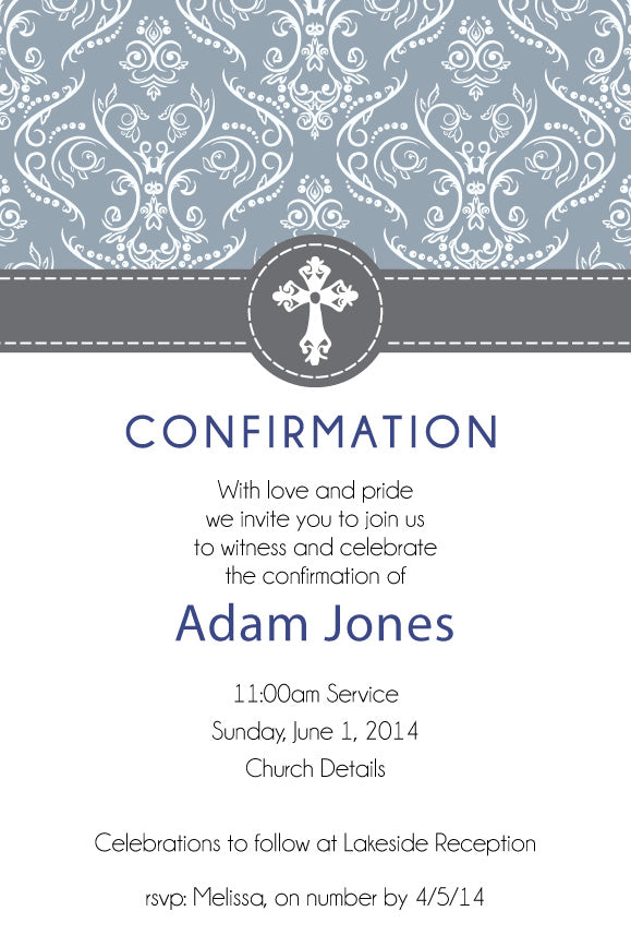 Blue and grey communion invitation for boys, blue and grey confirmation invitation for boys
