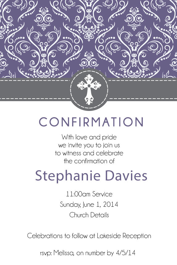 Purple floral confirmation invitation for girls, purple floral communion invitation for girls,