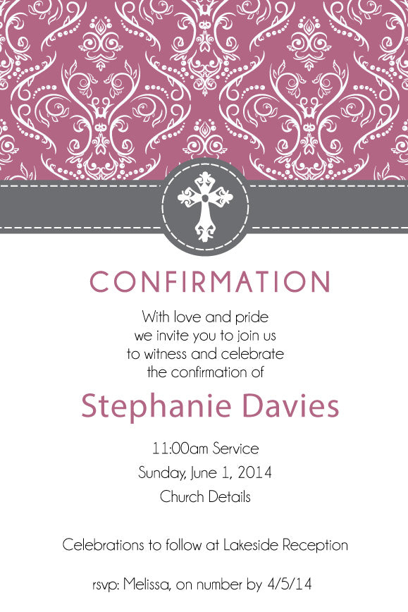red and grey floral confirmation invitation for girls, grey and red floral communion invitation for girls,