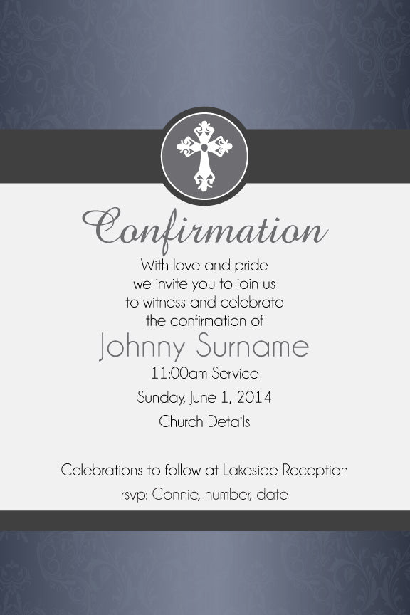 Blue confirmation invitation for boys, Blue communion invitation for boys,