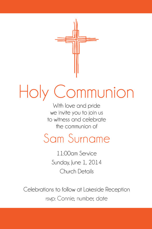bright and vibrant colour holy communion invitation