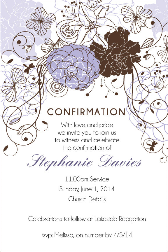 Purple floral communion invitation for girls, purple floral confirmation invitation